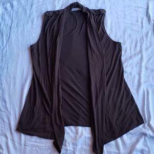 Liz Claiborne large sleeveless brown cardigan